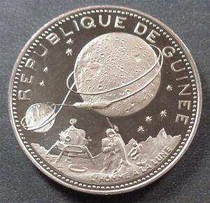 Guinea, Moon Landing Commemorative Silver 250 Francs, 1969, lustrous