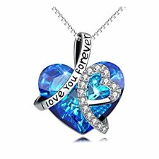 "925 Sterling Silver ""I Love You Forever"" Love Heart Pendant Necklace with"