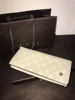 Authentic Gucci GG Beige Guccissima Leather Wallet With Box And Shopping Bag