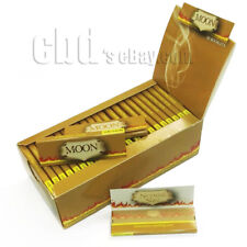 1 box Moon Unbleached Hemp Cigarette Rolling Papers 1.0 inch 2500 leaves Natural