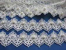 2y Fancy Lace Edge Trim Pearl Wedding Applique DIY Sewing Crafts