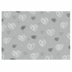 Unique High Quality Spiral Hearts Gift Wrapping Paper-Grey Background. A3-GP258