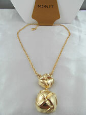 NWT MONET GOLD FANCY WORK CHUNKY PENDANT NECKLACE, Super Shiny, Detailed