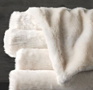 RH Luxe Oversize  Faux Fur Throw ARCTIC FOX NEW w/Tag