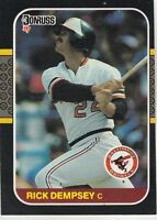FREE SHIPPING-MINT-1987 Donruss Baltimore Orioles Baseball Crd #294 Rick Dempsey