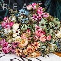 12pcs Silk Roses Artificial Fake Flower Heads Wedding Bouquet DIY Party De