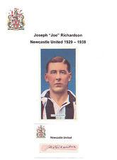 JOE RICHARDSON NEWCASTLE UNITED 1929-38 VERY RARE ORIG HAND SIGNED CUTTING/CARD