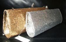 PRIMARK GOLD GLITTER DIAMANTE CLUTCH BAG HANDBAG PARTY CLUBBING EVENING BNWT