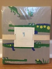 NEW Pottery Barn Kids Alligator TWIN Duvet Gator GRAY GREEN