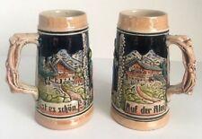 """TWO Small Vintage German Beer Stein Mugs """"Auf der Alm ist es schon"""""""