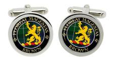 Brown Scottish Clan Cufflinks in Chrome Box
