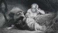 GENEVIEVE BRABAND  Sleeping Baby Wife of Crusader - SUPERB 1856 Antique Print