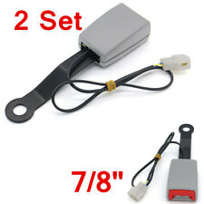 2 Set 7/8'' Car Safety Seat Belt Buckle Connector Plug Kit w/Warning Cable Gray