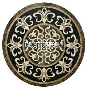 "24"" Brown Marble Round Pietra Dura Table Top Gemstone Inlay Living Home Decor"