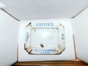 O'KEEFES Porcelain Enamel ashtray beer Old Vienna Beer Brewing Brewery Vintage
