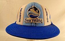 Vtg 80s Sea World Orlando Florida Shamu Killer Whale Orca Snapback Hat Cap Mesh