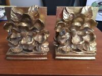 Vintage Heavy Golden Flower Bookends Free Shipping