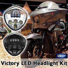 Motorcycle Cree LED Headlight 40W Black For Victory CRUISERS CROSS MODELS 07-16