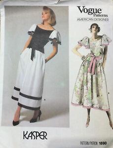Vogue American Designer Kasper Sewing Pattern Lined Dress With Dimdl Skirt S12