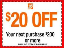 ONE 1x Home Depot Coupon $20 OFF $200 In-Store-Only-lNSTANT DELIVERY-NOW