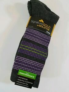 Gold Toe Men's Performance Socks Crew 3 Pair Gray Large Moisture Control