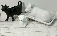 Lot of 3 Vintage Black~White Cows Creamer Pitcher Cow Butter Mini Pitcher Muuu.!