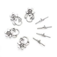 10 Sets Nickel Free Antique Silver Alloy Tibetan Flower Toggle Clasps Findings