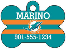 Miami Dolphins Personalized NFL Dog Tag Pet Id Tag w/ Name & Number