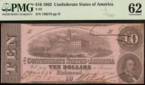 UNC 1862 $10 DOLLAR CONFEDERATE STATES CURRENCY CIVIL WAR NOTE MONEY T-52 PMG 62