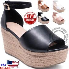 86c043ad7a56 NEW Womens Sandals Wedges Heels Ankle Strap Platform Open Toe Espadrilles  Wedges