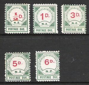 NEW ZEALAND 1899 POSTAGE DUES MINT LOT OF 5 (HM)