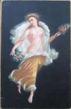 Nude/Topless Woman Holding Flowers 1908 Color Litho Postcard - Stengel, Risque