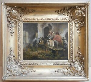 Drovers, donkeys & dog at a tavern. Original signed Oil by George Morland c1790