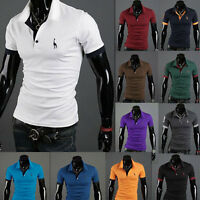 New Stylish Men's Cotton Short Sleeve Slim Fit Polo Shirt T-Shirts Casual Shirts