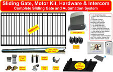 4m Combo Sliding Gate with Flat Top Squares Design & Hybrid Intercom System Pack