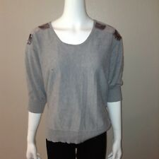 Fashion Bug Sweater Size XL Womens Gray 3/4 Dolman Sleeve Knit Top Shirt Sequins