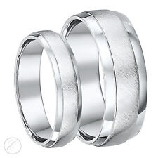 His&Hers Designed Palladium 5&7mm D Shape Wedding Rings