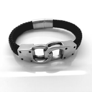 MEN'S HANDCUFF STAINLESS STEEL AND LEATHER  BRACELET SILVER/BLACK