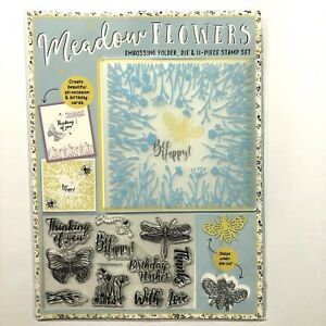 Meadow Flowers Card Making Set - Bee Die Embossing Folder & 11 Piece Stamp Set