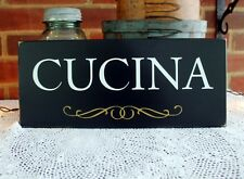 Cucina Italian Kitchen Wood Sign Handcrafted Black Painted Kitchen Decor