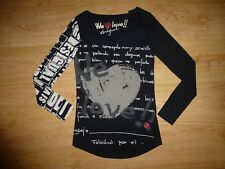 Women's Desigual Black Print Long Sleeve Scoop Neck Cotton Top Size XS UK 6/ P