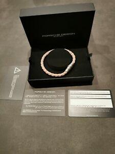 PORSCHE DESIGN Armband Leder Rosegold Bracelet Edelstahl 21,5 cm NEU OVP Np 235€