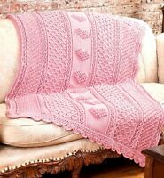 "Baby Boy or Girl Heart Popcorn Blanket  41"" x 55"" Aran Crochet Pattern"