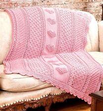 """Baby Boy or Girl Heart Popcorn Blanket  41"""" x 55"""" Aran Crochet Pattern"""