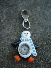 Penguin Key Ring Pocket Watch W/ Rhinestones Stainless Steal Back Quartz Movemen