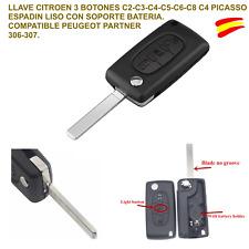 LLAVE MANDO PARA CITROEN C2-C3-C4-C5-C6-C8 Y C4 PICASSO 3 BOTONES ESPADIN LISO
