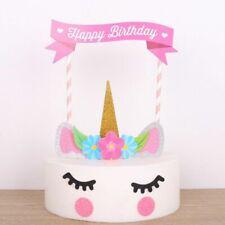 2 set x Glitter Unicorn Horn Kids Birthday Cake Topper Banner Decoration DIY