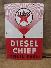 Vintage 1963 Porcelain Texaco Diesel Chief Gas Station Sign > Antique Oil 9287
