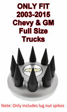 Set/8 Black Spike Wheel Lug Nut Covers For 2003-2015 Chevy/GMC Full Size Truck