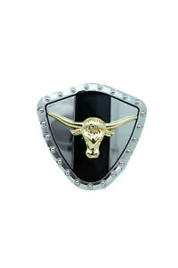 Men Silver Metal Western Belt Buckle Texas Lone Horn Cow Gold Bull Rodeo Style